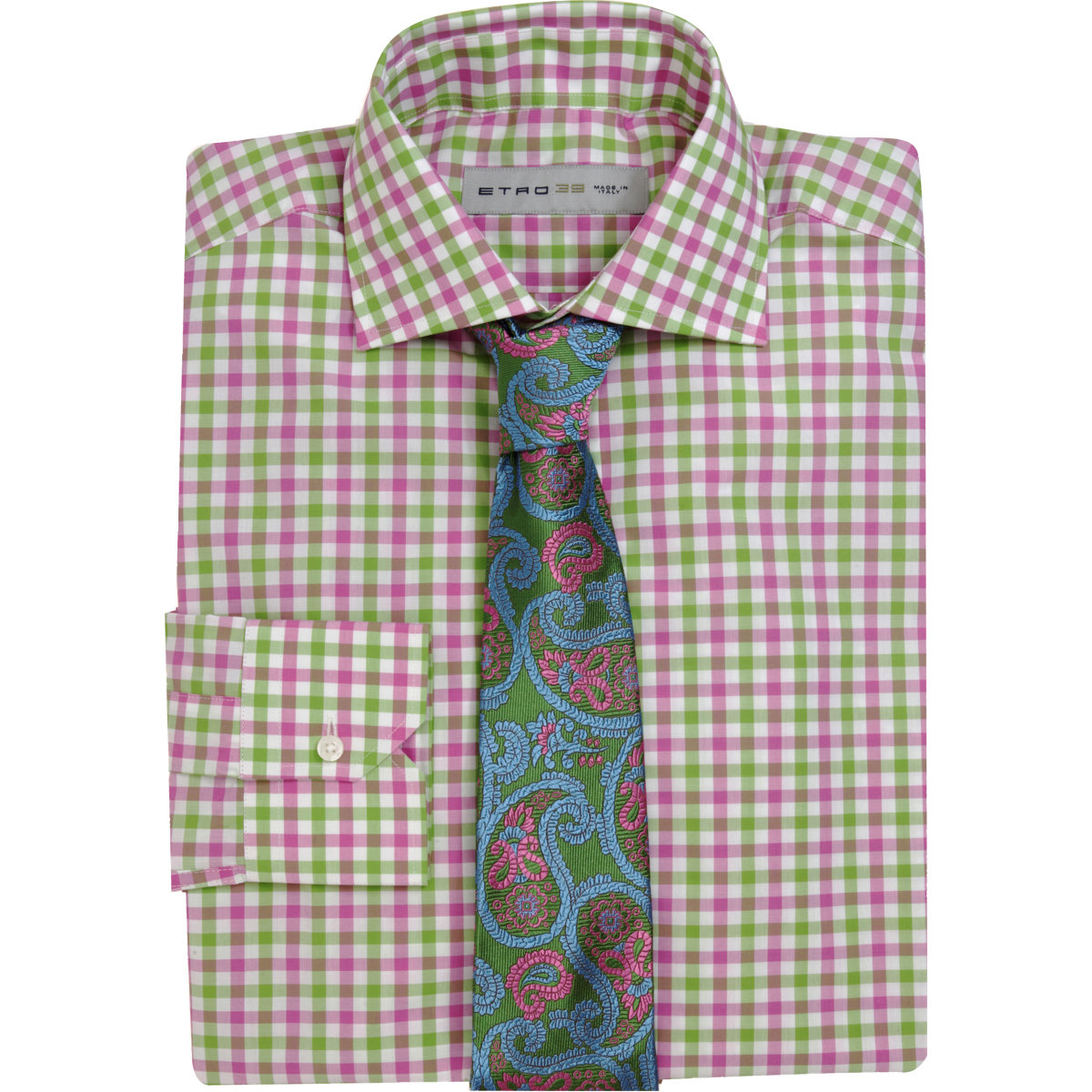 Etro gingham check dress shirt in pink for men lyst for Men s red gingham dress shirt