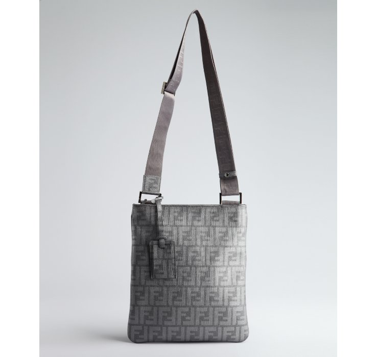 ... brown 264d3 87bf3 coupon code for lyst fendi silver zucca spalmati  medium messenger bag in metallic 587ac 28708 1947976656