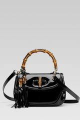 Gucci New Bamboo Patent Leather Top Handle Bag - Lyst