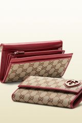 Gucci Burnt Orange Shiny GG Leather Continental Wallet - Lyst
