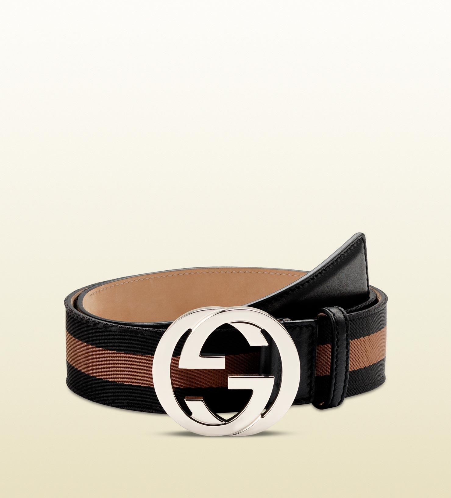 gucci belt with interlocking g buckle in black for men lyst