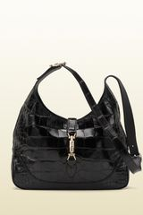 Gucci Jackie Black Crocodile Shoulder Bag - Lyst