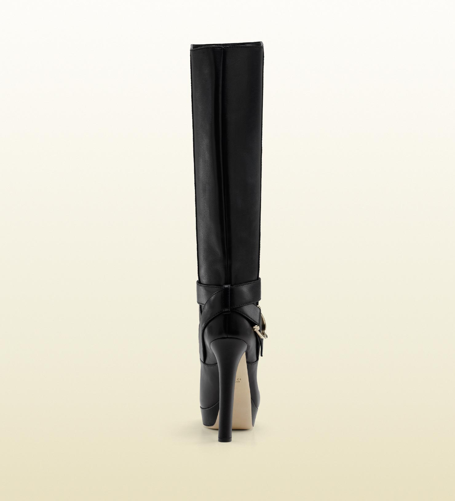 e9ee381c0b5 Gucci Stirrup High Heel Platform Boot with Spur Detail in Black - Lyst
