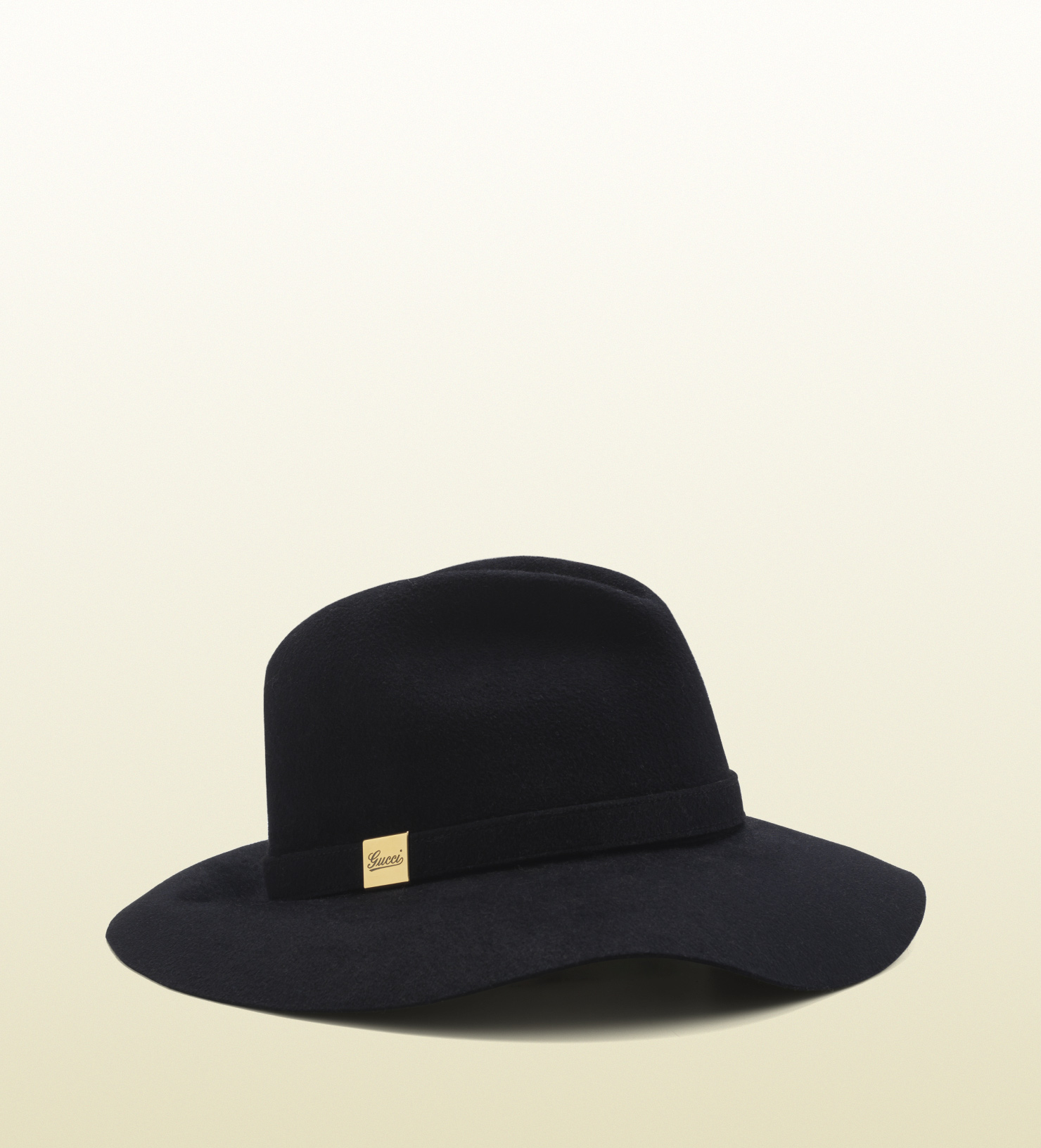 ba8e174c Gucci Trilby Hat with Engraved Gucci Script Logo in Black - Lyst