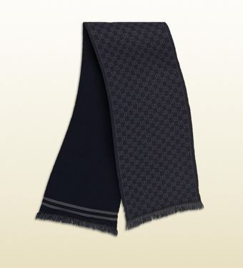 Gucci GG Jacquard Pattern Knit Scarf with Fringe - Lyst