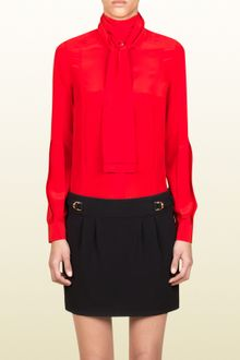 Gucci Pleated Sash Blouse - Lyst