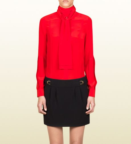 Gucci Pleated Sash Blouse in Red - Lyst