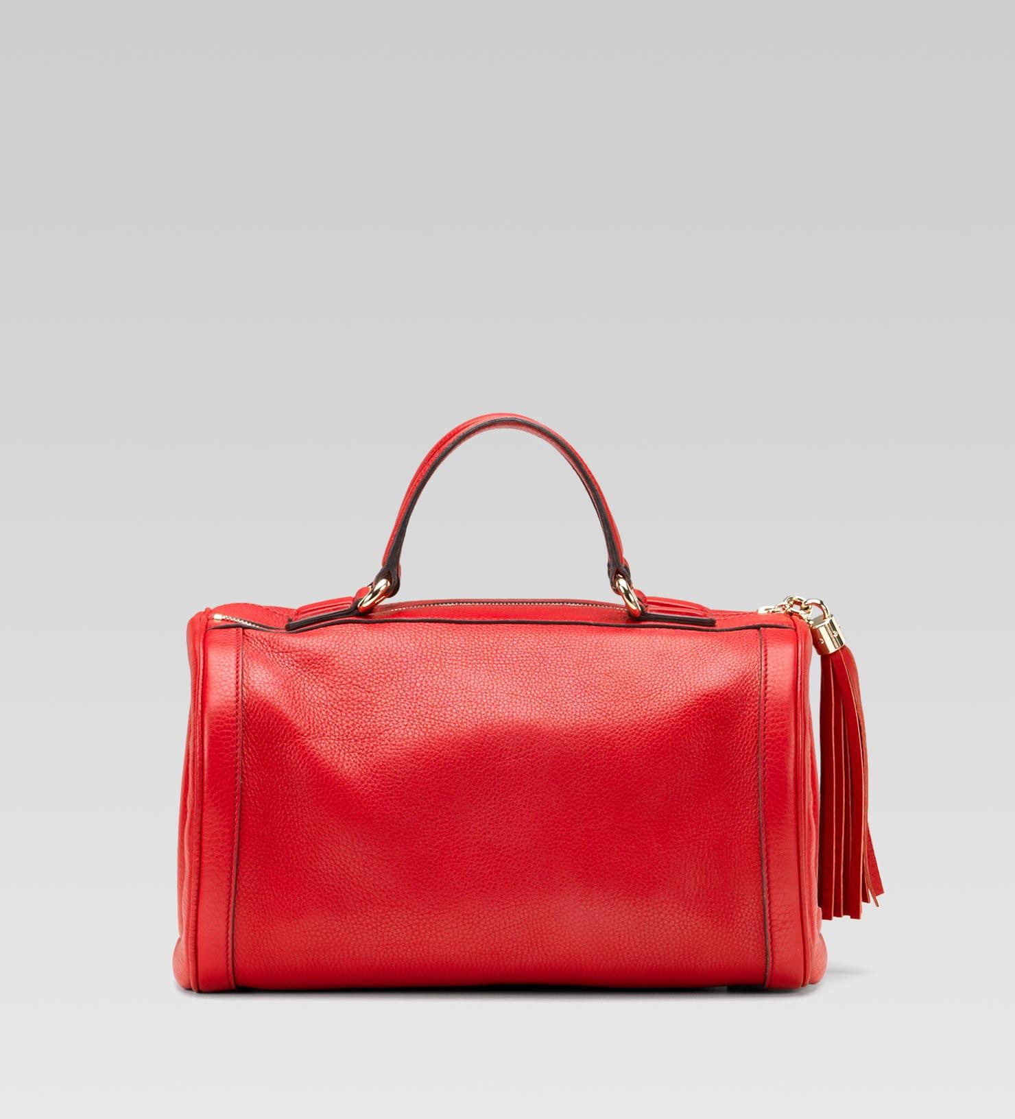 Lyst Gucci Soho Boston Bag In Red