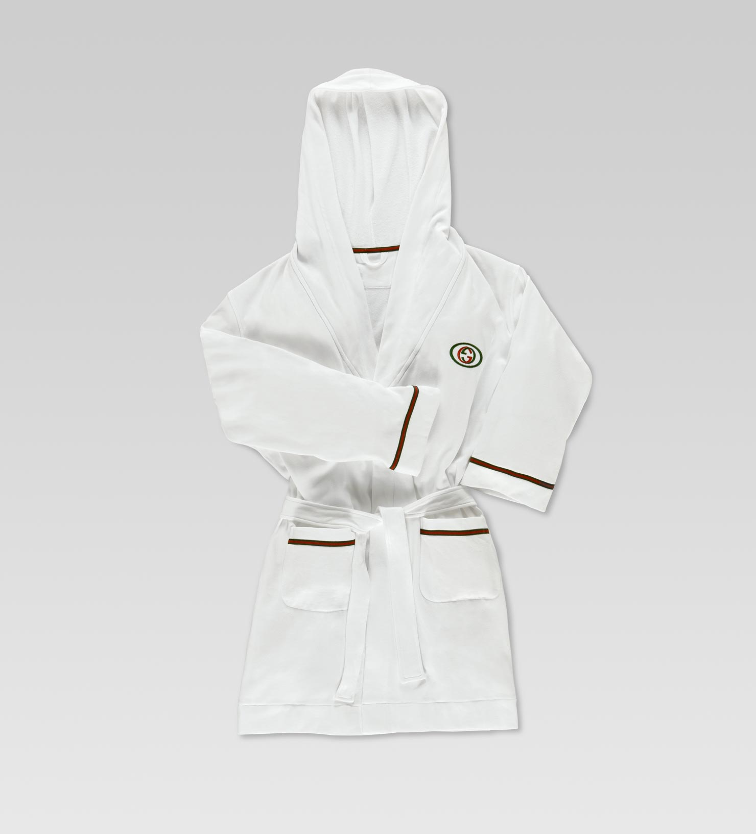 Gucci Bathrobe With Interlocking G And Signature Web Detail In White