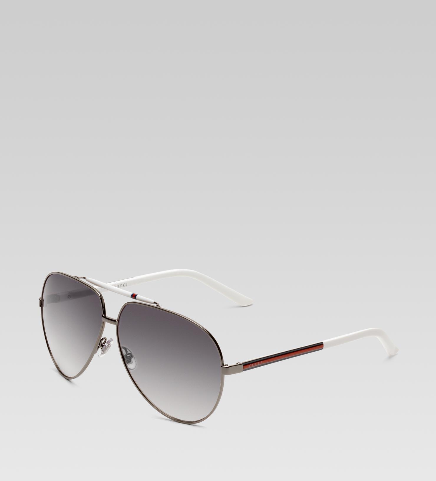 Gucci Medium Aviator Sunglasses With Signature Web Detail On Temple ...