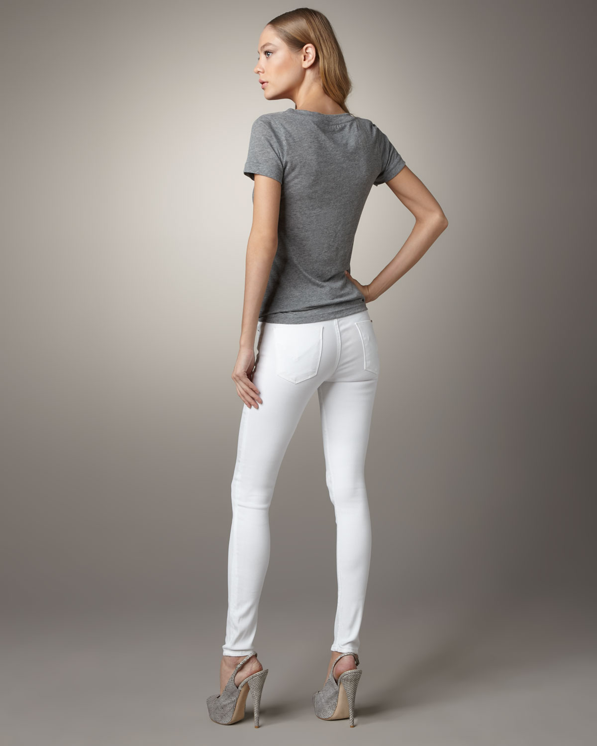 Hudson jeans Nico Mid-rise Super Skinny Jeans, White in White | Lyst