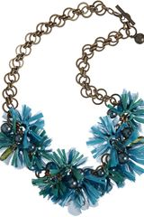 Lanvin Raffia Mask Flower Small Necklace in Blue (gold) - Lyst