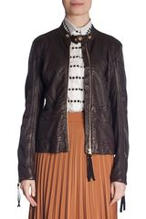 Marni Snap Collar Leather Jacket - Lyst