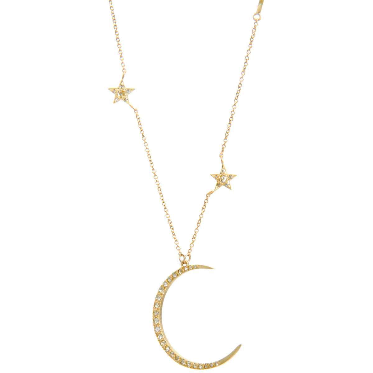me ro crescent moon necklace in yellow