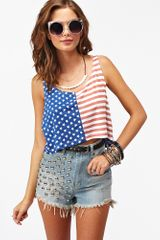 Nasty Gal Stars Stripes Crop Tank - Lyst