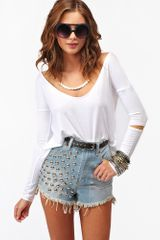 Nasty Gal Slashed Tee White - Lyst
