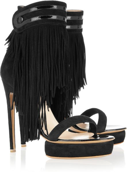 Nicholas Kirkwood Fringed Suede Sandals in Black