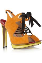 Nicholas Kirkwood Suede and Elaphe Slingback Sandals