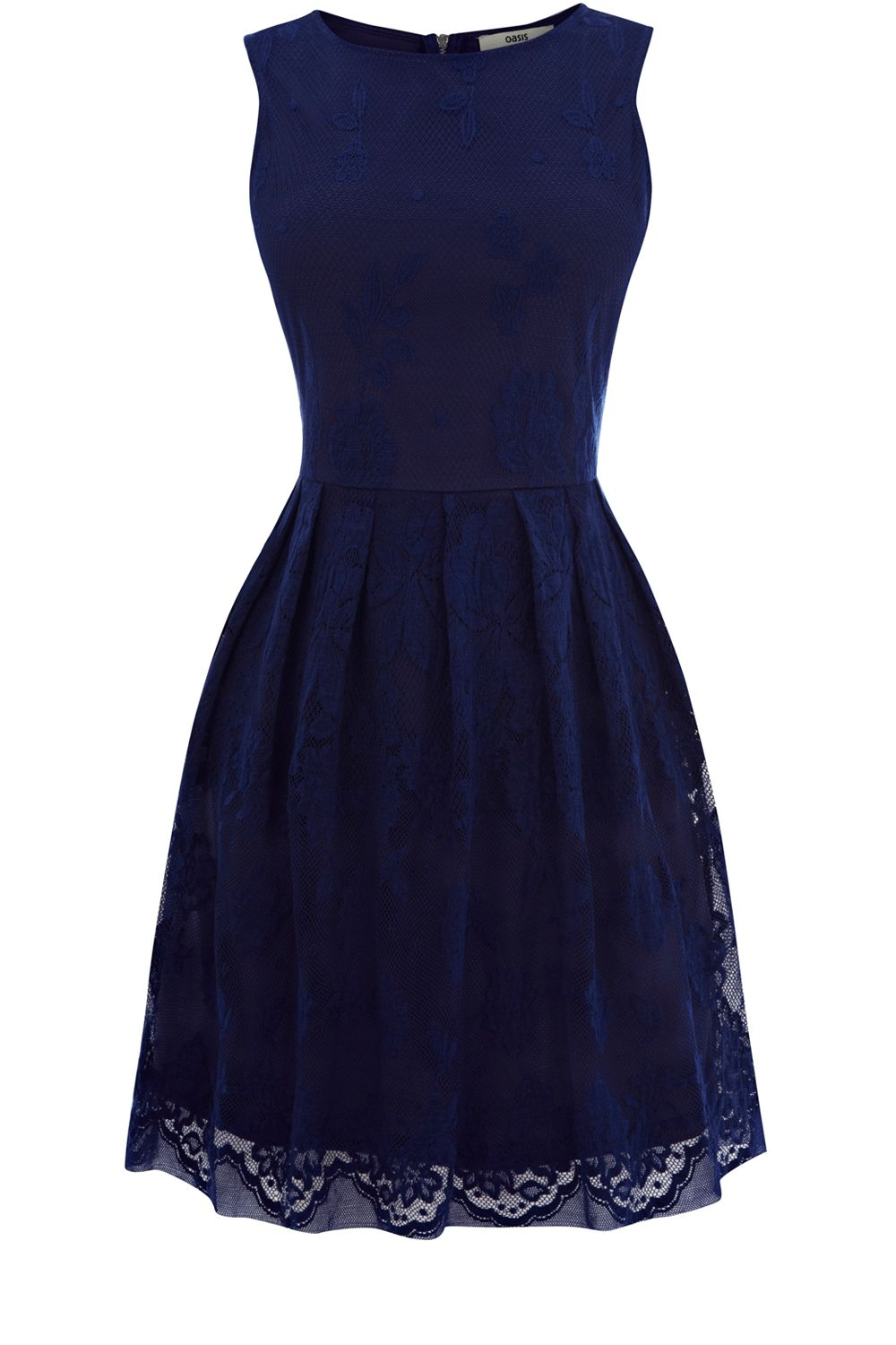 Oasis lace cutaway dress in blue dark blue lyst for Blue lace wedding dress