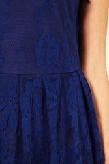Oasis Lace Cutaway Dress in Blue (dark blue) - Lyst