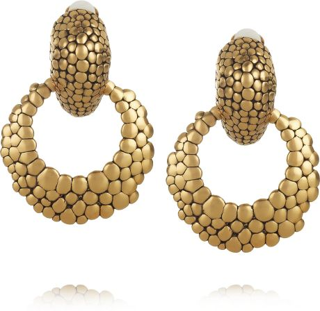 Oscar De La Renta 24karat Goldplated Hoop Clip Earrings in Gold - Lyst