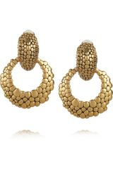 Oscar de la Renta 24karat Goldplated Hoop Clip Earrings - Lyst