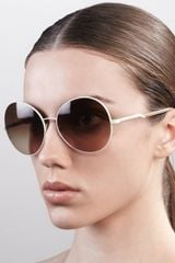 Stella Mccartney Sunglasses Round Metal Sunglasses Cream - Lyst