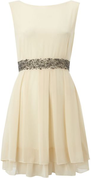 Tfnc Belted Stud Dress with Drape Skirt in Beige (cream) - Lyst