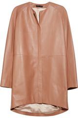 The Row Nesjen Leather Coat in Pink (coral) - Lyst