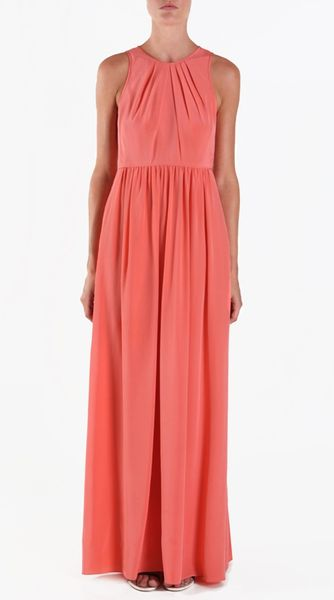 Tibi Silk Long Dress in Red (coral) - Lyst