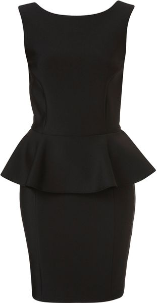 Topshop Peplum Scuba Pencil Dress in Black - Lyst