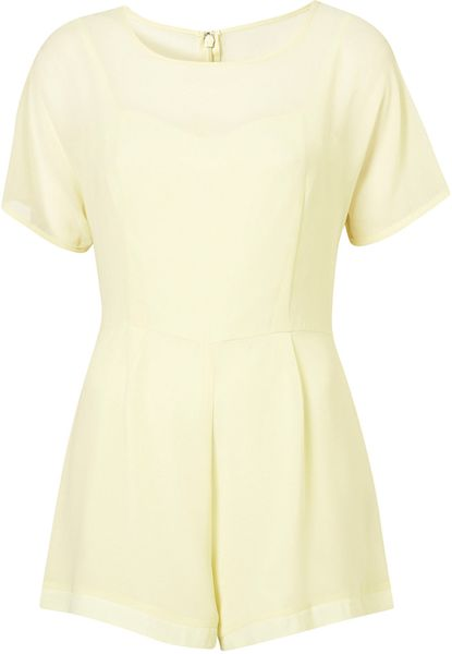 Topshop Chiffon Overlay Playsuit in Yellow (lemon) - Lyst