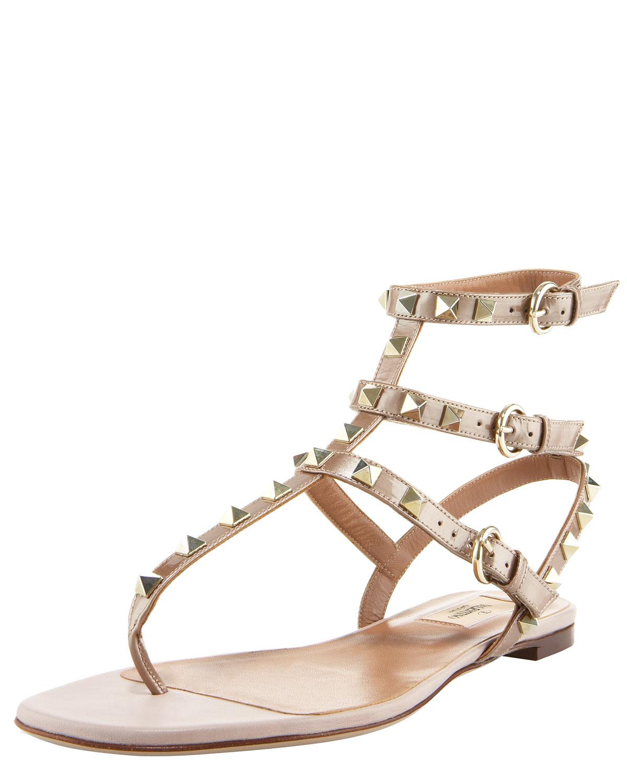 c8fdba165e8 Lyst - Valentino Rockstud Gladiator Sandal in Pink