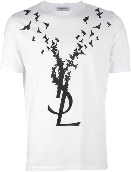 saint laurent printed tshirt in white for men lyst. Black Bedroom Furniture Sets. Home Design Ideas