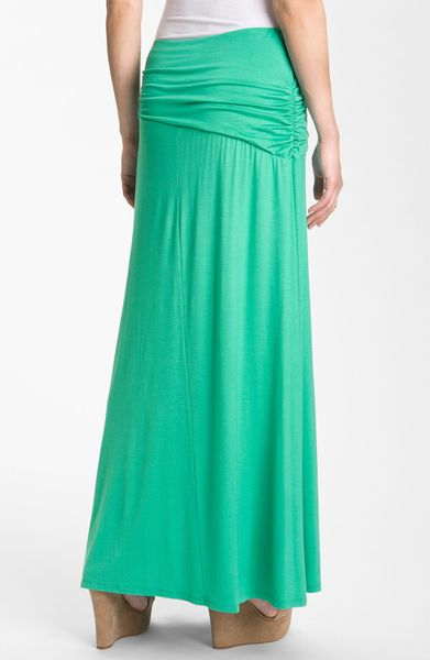 bobeau asymmetric knit maxi skirt in green turquoise