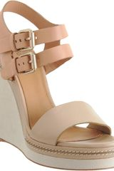 Chloé Double Quarter Strap Sandal in Brown (ivory) - Lyst