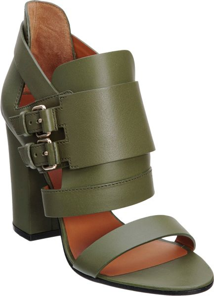 Givenchy Double Buckle Sandal in Green - Lyst