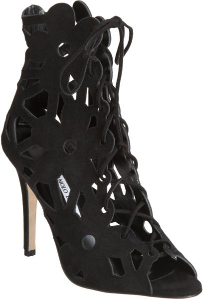 Manolo Blahnik Kahikalo Caged Suede Bootie in Black (floral)