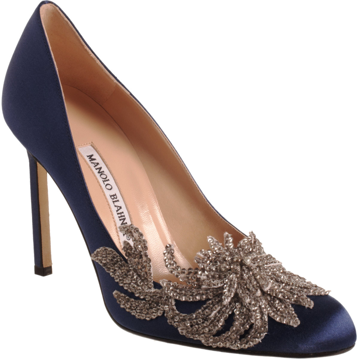 Manolo blahnik swan in blue navy lyst for Shoe designer manolo blahnik