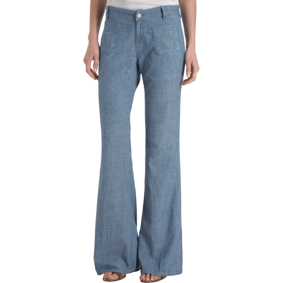 mih jeans miramar mid rise wide leg chambray jeans in blue