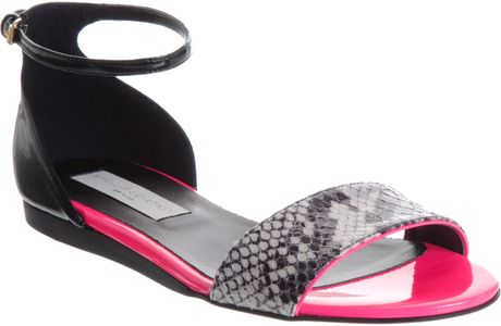 Stella Mccartney Pythonembossed Flat Sandal in Pink - Lyst
