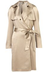 Topshop Premium Draped Lame Trench