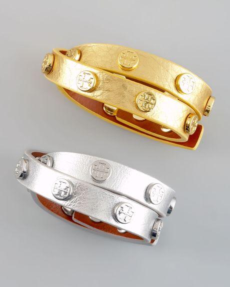 Tory Burch Metallic Logo Studded Bracelet In Silver Lyst
