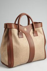Yves Saint Laurent Natural Canvas and Leather Snap Side Tote - Lyst