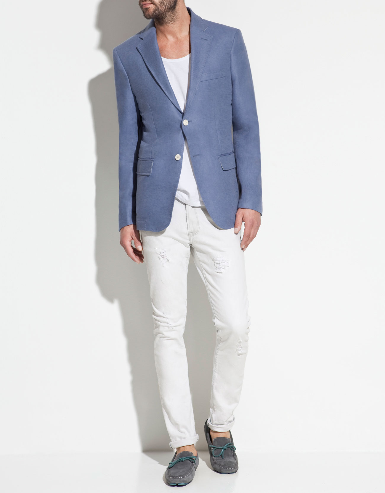 Zara Cotton and Linen Blazer in Blue for Men | Lyst