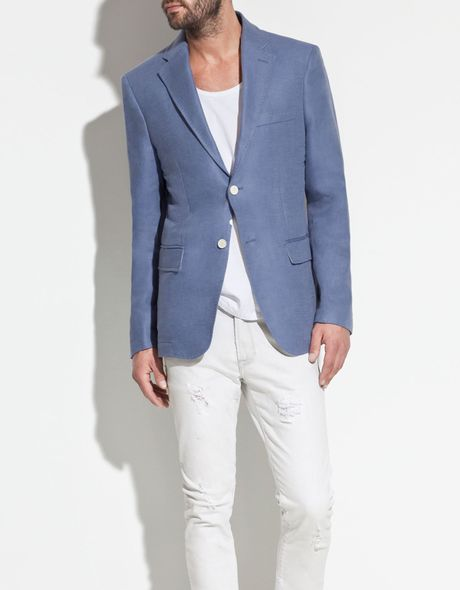 Zara Blazer with Contrasting Elbow Patches in Blue for Men (pearl)