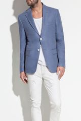 Zara Blazer with Contrasting Elbow Patches in Blue for Men (pearl) - Lyst