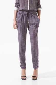 Zara Trousers with Tie Print - Lyst