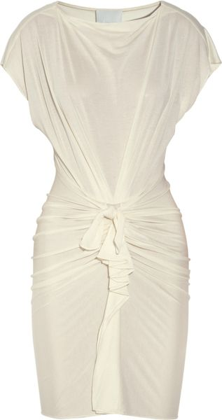 3.1 Phillip Lim Knotfront Silk and Cottonblend Dress in White - Lyst