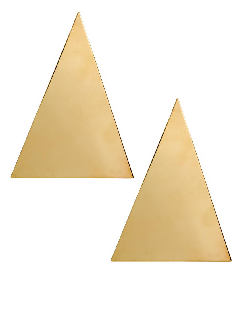 Asos Gold Triangle Earrings In Gold Lyst